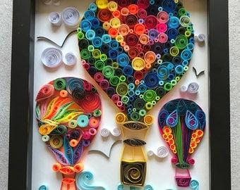 "Balloons.  Quilling Paper art. ""Baloons"" Wall Art"