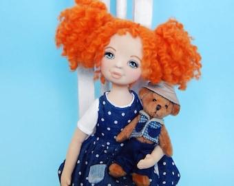 Art doll, fabric doll, rag doll, textile doll, interior doll, OOAK doll, cloth doll, home decor, lime, vintage doll, doll