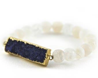 White Agate Druzy Bracelet, Matte Beads, Frosted White Beads, White Gemstone Bracelet, Ice White Bracelet, Purple-Indigo Druzy Pendant
