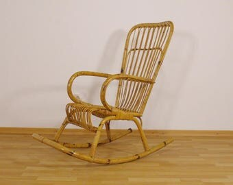 Rattan, bamboo rocking chair from the Netherlands - 1950s, 1960s