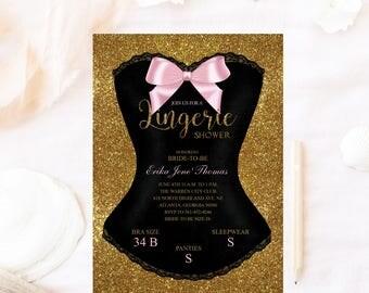 Lingerie shower invitation, Glitter corset invitation, lingerie shower invitation,bachelorette bridal shower invitation, lingerie shower
