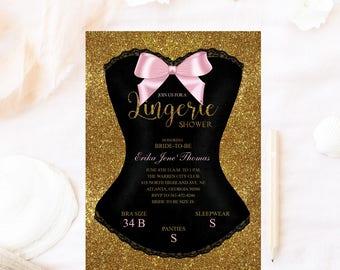 Lingerie shower invitation, Glitter corset invitation, lingerie shower invitation,bachelorette bridal shower invitation