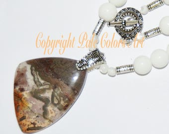 "26"" White Necklace, Gemstone, Lace Agate Stone Pendant, 26 Inch Necklace, Agate Stone Pendant Necklace, Neutral Necklace, Gemstone Necklace"