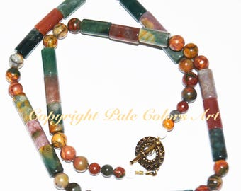 "22"" Indian Agate Necklace,Colorful Semiprecious Stone Beaded Necklace,Indian Agate Bead Necklace,Agate Necklace,Semiprecious Stone Necklace"