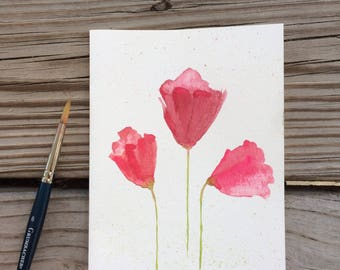 Card, hand-painted watercolor