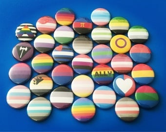 "SALE Limited Time Only Pride Flag Pin LGBT Gay Bisexual Tran Asexual Ally Intersex Pansexual Straight Trigender 1"" Pin Badge Pinback Button"