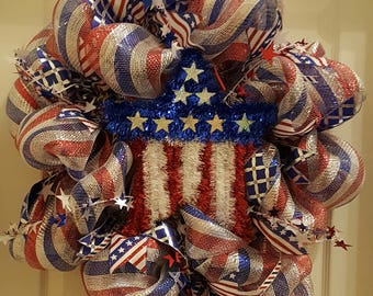 Beautiful Red, White & Blue Wreath