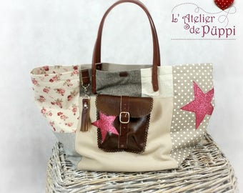 STARS bag taupe pink patchwork tote bag romantic chic bag gift idea