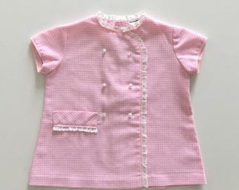 Vintage years 60 baby girl body gingham dress pink