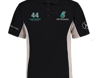 Lewis Hamilton Embroided Black / Grey Contrast Formula 1 Fan Polo T-Shirt