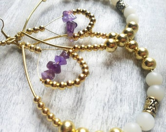Amethyst Crystal Earrings | Creoles | Drop Earrings | Queen Jewelry | Amethyst Beads | White Glass Beads | Gold Metal Beads