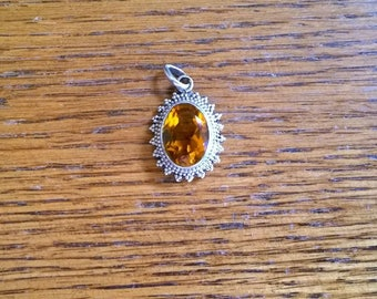 Citrine Pendant set in Sterling Silver Beaded Filigree