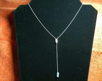 "Sterling Silver Adjustable Beaded 18"" Necklace"