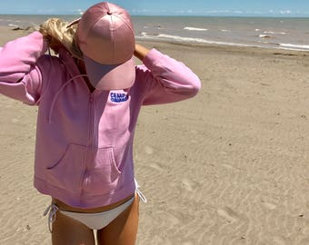 Vintage 80s Sweater Pink with Blue Detail Faded Zip Up Hoodie Long Sleeve / Cali Summer Camp Counsellor