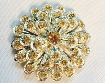 Amber and Gold Brooch