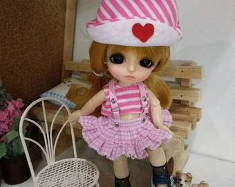Lovely Pink  Overalls for lati yellow/ PukiFee bjd