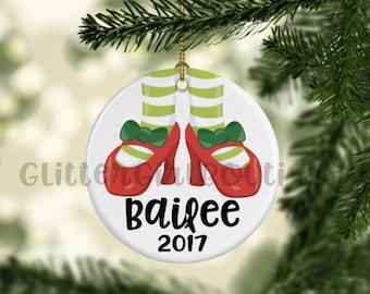 Christmas Ornament, Heels Ornament, Ornament for her, Little Girl Ornament, Porcelain Ornament, Custom Ornament | Personalized Ornament