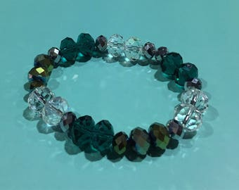 Aqua & Clear Crystal/Smoke Faceted Bracelet