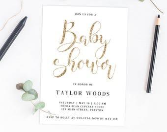 Gold Calligraphy Baby Shower Invitation Template Download Printable Baby Shower Invites Baby Shower Invitation Gender Neutral Glitter GCA