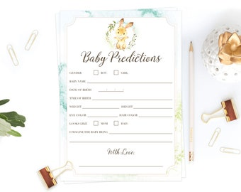 Woodland Themed Baby Prediction Cards Instant Download Springtime Bunny Baby Shower Game Printables Easter Baby Shower Decorations DIY LB2