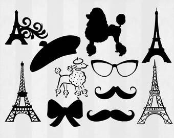 Paris SVG Bundle, Paris clipart, Paris cut files, svg files for silhouette, files for cricut, svg, dxf, eps, cuttable design