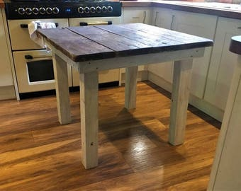 Reclaimed Wood Mini Dining Table, Rustic two person table. Farm house. Hand Made