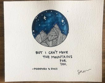 Watercolor Mountain Doodle / Mumford & Sons / Watercolor Lyrics