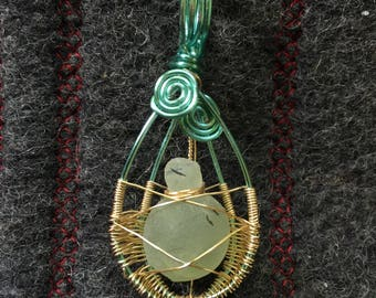 Handmade wire wrapped Prehnite necklace.