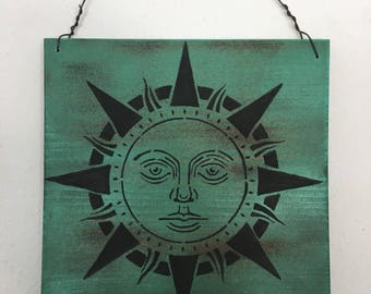 Wooden Boho Sign with Painted Sun