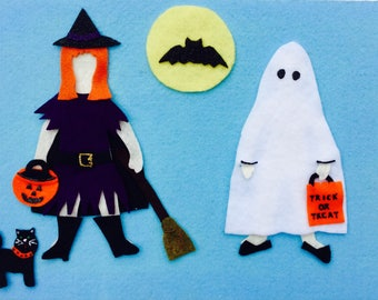 Trick or Treat Felt Board Dolls - Pretend Play, Flannel Board, Quiet Play, Imaginative Play, Halloween, Trick or Treat, Witch, Ghost