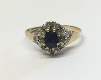 9ct Gold Dark Sapphire And Diamond Engagement Ring