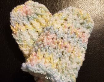 Pastel infant beanie and mittens set