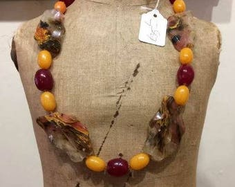 Upcycled recycled beaded necklace....colored patterned glass beads