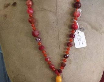 Carnelian gemstone necklace....upcycled....recycled beads