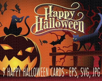 Vector Halloween cards. EPS, svg, jpg