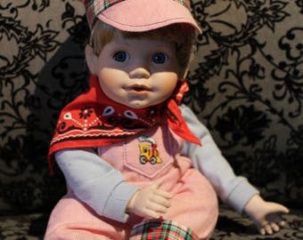 Adorable Blue Eyed Porcelain Train Conductor Doll 1990 MBI