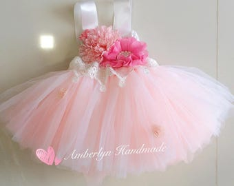White Pink Tutu dress with Flower and Lace