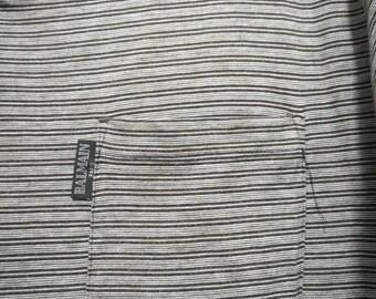 Vintage Pierre Balmain Paris Single Pocket Stripe Striped T-shirt