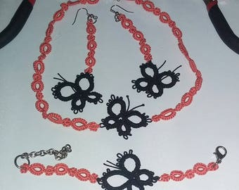 Set necklace frivolite