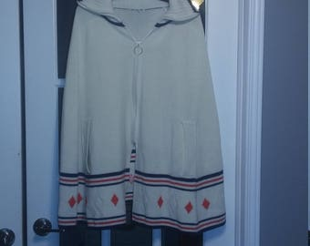 Vintage 70s Ivory, Red, Navy Blue Zip-up Poncho EUC
