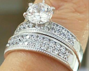 14K solid White Gold 1ct diamond ring set (size 7)