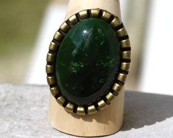 Large dark green jade ring oval medieval spirit - gift idea for woman