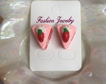 Strawberry Cake Slice Earrings