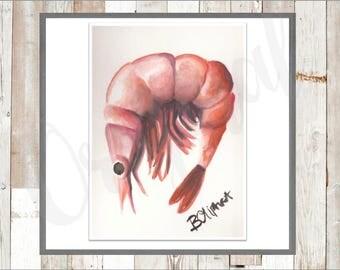 Watercolor Coastal Shrimp Digital Instant Download