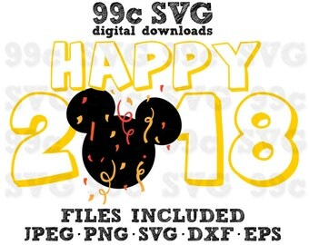 Happy New Year 2018 Mickey Head SVG DXF Png Vector Cut File DIY Party Disneyland Cricut Design Silhouette Vinyl Decal Template Heat Transfer