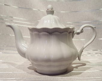 Vintage Walbrzych Made In Poland Teapot White with Gold Details