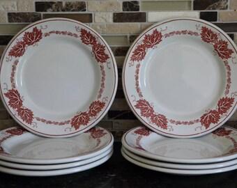Newport Pottery Co. Ltd. Hotel Ware Side Plates, Red Leaf - Set of 8
