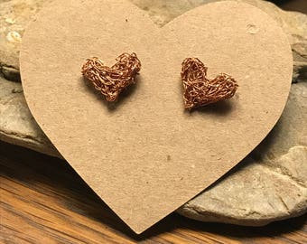 Knitted Wire Stud Heart Earrings various colors