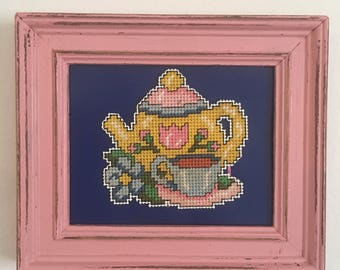 Pink and blue teacup picture frame