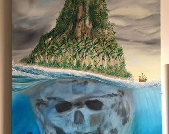 Scull island oil painting